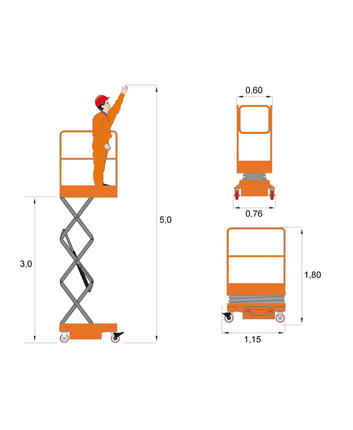 Scissor lift Dingli JCPT0507 - measurement