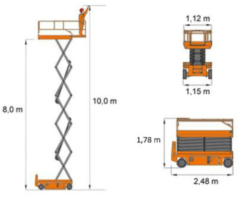 Scissor lift Dingli JCPT1012HD - measurements